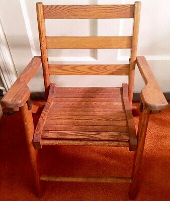 Vtg Paris Mfg Co, So. Paris, Me Wood Toddler Folding Chair-No. 046-Euc