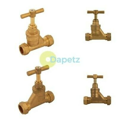 Brass Stopcock Compression Fitting 15mm 22mm Brust Water Shutt Off Stop-cock