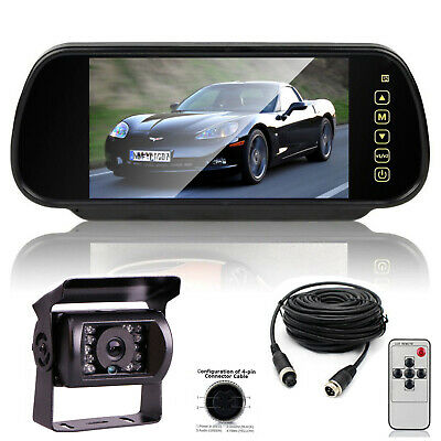 """7"""" TFT LCD Monitor 4 Pin 33ft IR CCD Rear View Reverse Camera For Car Bus Truck"""