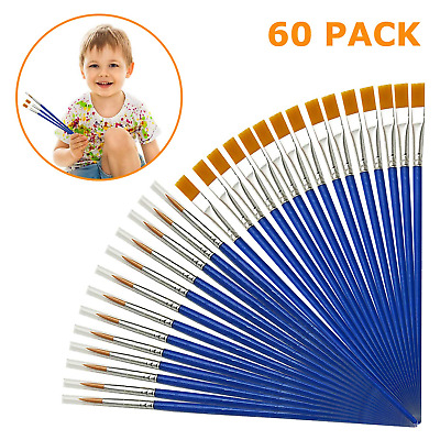 Aye 60 Pieces Kids Paint Brushes Set for Acrylic Watercolor Oil Painting -Flat