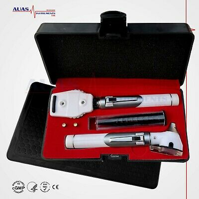 FIBER OPTIC MINI OTOSCOPE Ophthalmoscope EXAM LED Diagnostic ENT SET WHITE
