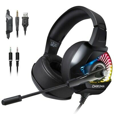 PS4 PC Noise Cancelling Over Ear Headphone w/ Mic, RGB LED Light, Bass Surround