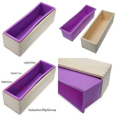 Flexible Rectangular Soap Silicone Mold With Wood Box For Homemade 900g 32oz Soa