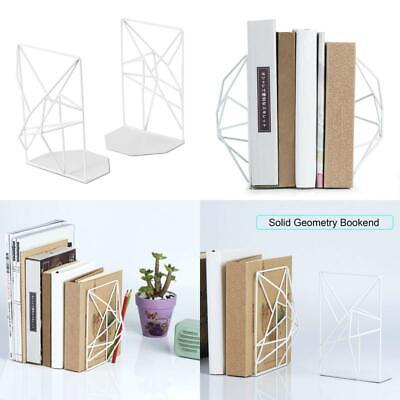 SRIWATANA Bookends Heavy Duty White Metal Book Ends Supports For Shelves Unique