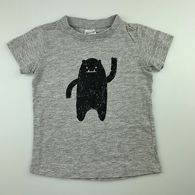 Boys size 0, Tiny Little Wonders, grey t-shirt / tee / top, monster, GUC