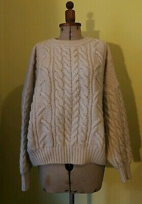 vintage cream wool cable knit fisherman's jumper 1980s