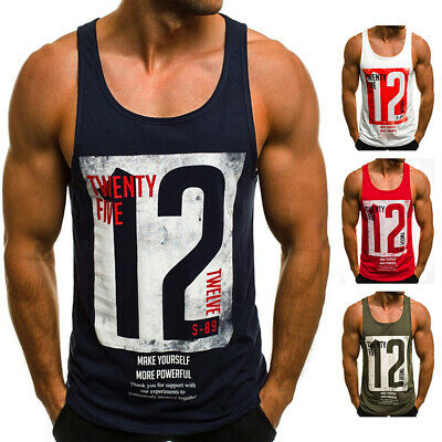 Mens Print Sleeveless Muscle Tee Vest Summer Training Gym Sport Casual Tank Tops
