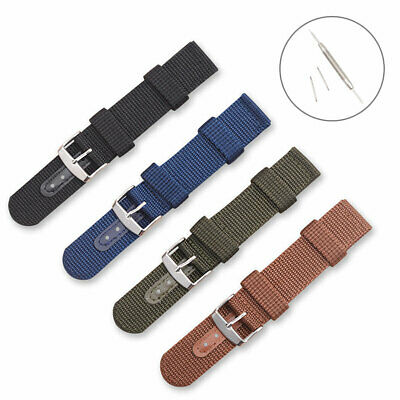 18/20/22mm Nylon Canvas & Leather Wrist Strap Metal Clasp Watch Band With Tools