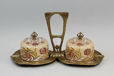 9937404 Cruet Stand with 2 Ceramic Domed Covers in Art Nouveau Style Brass
