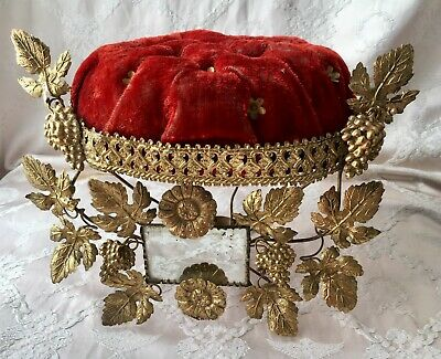 Antique 19thC French Chateau Wedding Crown Velvet & Gilt Boudoir Stand Display