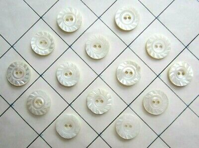 """14 Antique Vintage Matching Hand Carved Pearl Shell Sewing Buttons 5/8"""" size"""