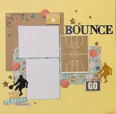 handmade scrapbook page 12 X 12 basketball themed Layout