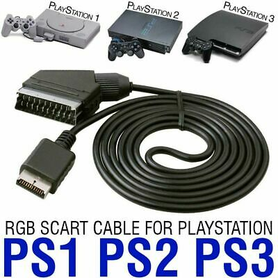 UK RGB SCART Cable TV AV Lead for Playstation PS1 PS2 PS3 Slimline Game Consoles