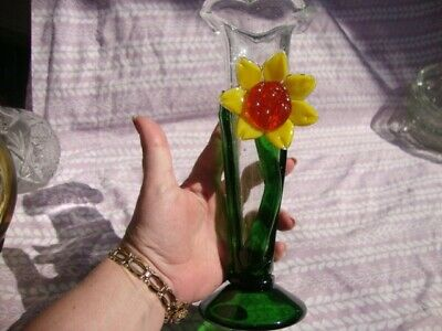 Vtg Antique Mid Century Murano Style Hand Blown Art Glass Vase Yellow Sunflower