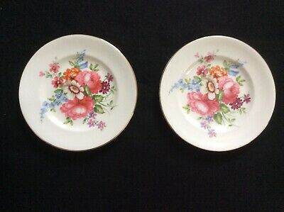 PAIR of VINTAGE CROWN STAFFORDSHIRE FLORAL TRINKET PIN DISHES bone china