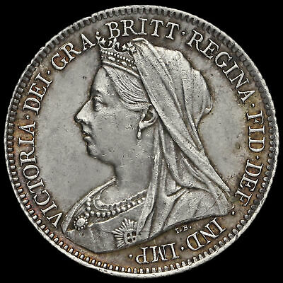 1901 Queen Victoria Veiled Head Silver Sixpence, A/UNC #2