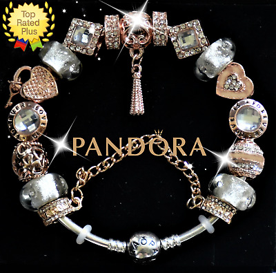 """Pandora Bracelet Silver Rose Gold """"Enchanted Heart"""" with European Charms New"""