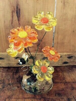 """Vintage Lucite Acrylic 6""""  Flower Sculpture Paperweight DESIGN GIFTS- Kitschy!"""