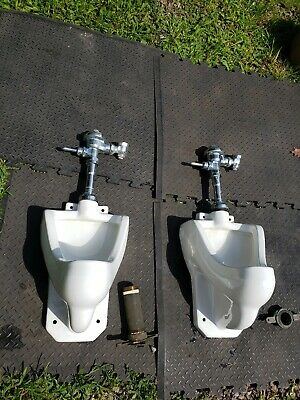 vtg MAN CAVE porcelain wall urinal W/ plumbing hardware mint NYC PGH DELIVERY