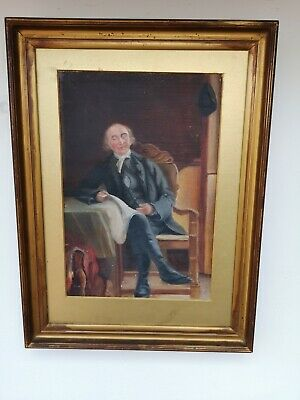 Antique19th Century Oil Painting A Full Portrait Seated Man ,Antique Gilt Frame