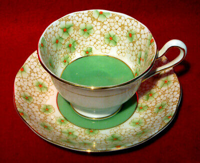 Vintage Royal Albert Crown China Floral Cup & Saucer 1080 Green Center Gold Trim