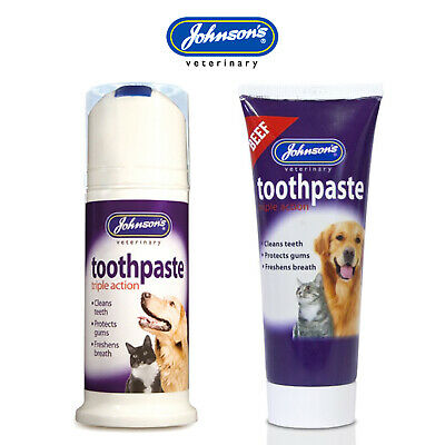 Johnson's Toothpaste Dog Cat Triple Action Chicken or Beef Flavour - 50g