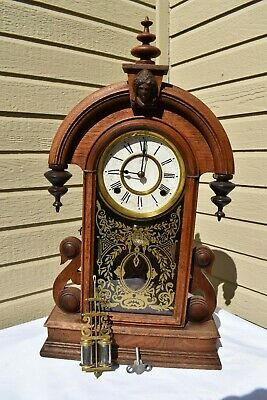 Antique 1890 Ansonia Gingerbread Mantle Clock