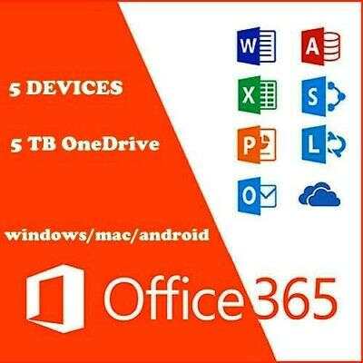 MS Office 365 Home Personal 2016 2019 Pro PC/Mac 5TB User Lifetime ESD 5 devices