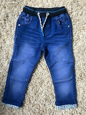Next Boys Bright Denim Jeans With Turn Ups Age 2-3 Years