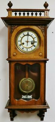 Small Antique German HAC Carved walnut 14 Day Gong Striking Vienna Wall Clock