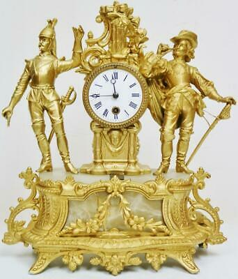 Antique 19thC French 8 Day Gilt Metal & Alabaster Soldier Figurines Mantel Clock