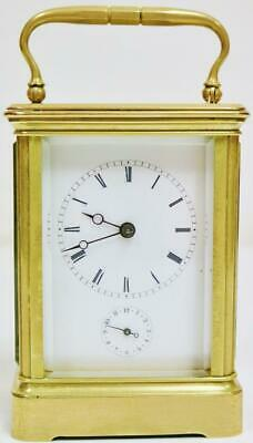 Antique French 8 Day Ormolu & Bevelled Glass Carriage Clock With Alarm Feature