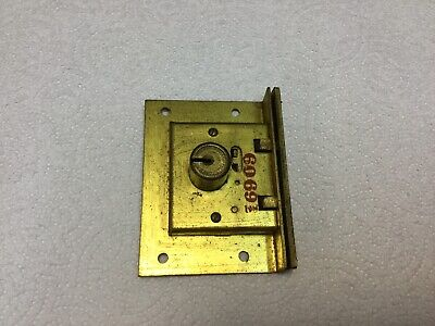 "Vintage Eagle Co Mortise Cylinder Brass Lock W/ No Key 6069 3-3/8"" x 2-1/2"""