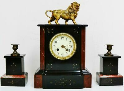 Antique French Slate & Marble Bell Striking 8 Day Lion Figurine Mantel Clock Set