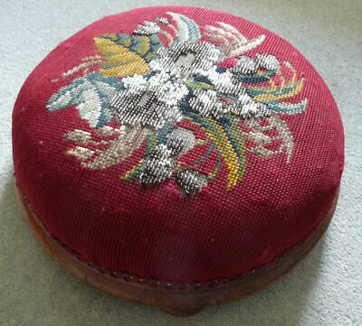 Victorian / Edwardian Beaded Footstool For Renovation - See 6 Pics