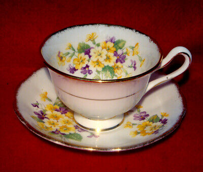 Vintage Royal Albert Floral Cup & Saucer Purple Yellow Flowers Gold Trim England