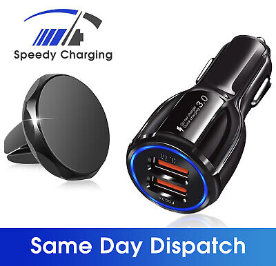 Dual Usb Car Charger Fast Twin Port LED Magnetic Phone Holder Car Mount Air Vent