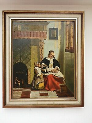 Beautiful Antique 19th Century Oil Painting on Canvas Mother & Daughter .