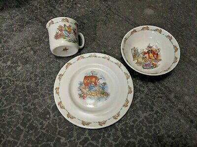 Royal Doulton Bunnykins Classic 3-Pc Children's Dinner Set PLATE Cereal BOWL CUP