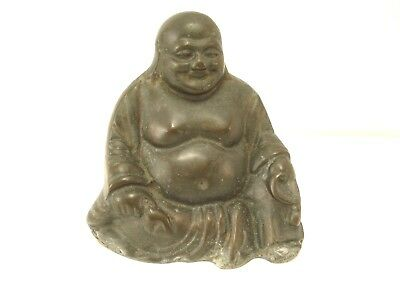 Antique/vintage Chinese Cold Cast Bronze Seated Praying Buddha Statue Figurine