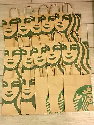 15 Excellent Starbucks Brown Paper Shopping Lunch Gift Bags with Handles