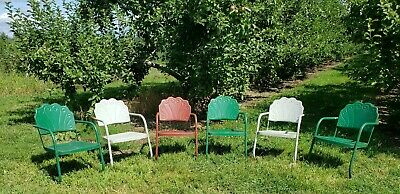 Set Of 6 Clamshell Matching Antique Art Deco Metal Lawn  Rocker Chairs