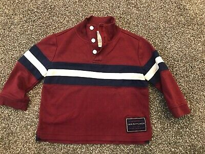 Janie And Jack 6-12 Months Boy Henley Maroon With Stripe Long Sleeve 3 Buttons