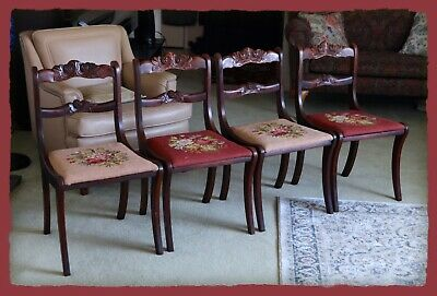 Duncan Phyfe Rose Back Tell City Dining Side Chair Set (4), RARE Three Roses!