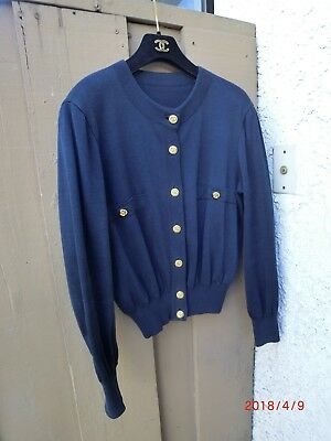 Authentic CHANEL CC button  Navy Blue cardigan Size Small