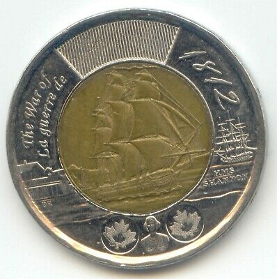 Canada 2012 SHIP HMS SHANNON War of 1812 Toonie Canadian $2 Dollars ~
