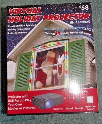 Mr Christmas Indoor Virtual Holiday Projector 14 Movies Sound USB Port NEW!