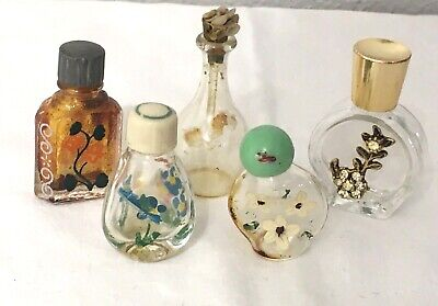 5 Antique/Vintage Glass Mini Perfume Bottles Hand Painted Floral Inset Crystals