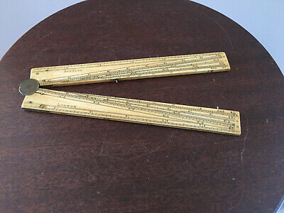Antique Mathematical Sector folding Rule Bleuler London 1800's