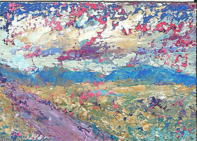 Original Abstract Acrylic Knife Landscape Painting ACEO ART mini small SFA NR